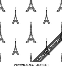 seamless pattern with silhouette of the Eiffel tower