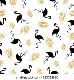 Seamless pattern with silhouette of a flamingo and palm branch on a white background. Vector. A simple template. Vector illustration.