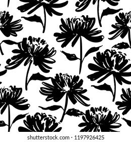 Seamless pattern with silhouette flowers. Vector ink illustration. Hand drawn feminine background.