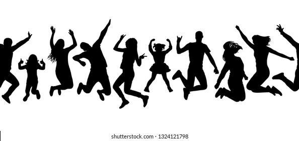 Seamless pattern of silhouette of jumping people. Vector illustration