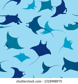 Seamless pattern with silhouette of mantas on a blue background. Vector wallpaper with sea animals.