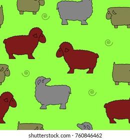 Seamless pattern, Silhouette of sheep collection (sheep sacrifice Kurban-bairam), cartoon on green background, vector