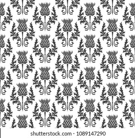 seamless pattern silhouette thistle