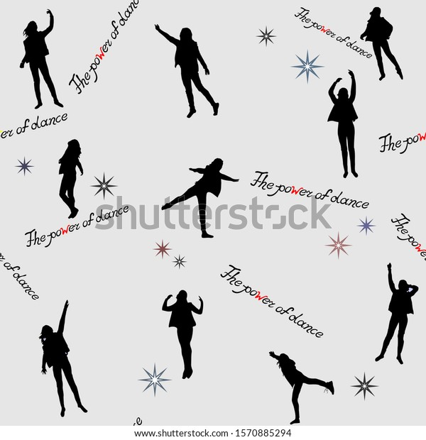 Seamless Pattern Silhouettes Body Movements Girl Stock Vector Royalty Free 1570885294