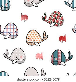 Seamless pattern of silhouettes from cute whales and fishes.