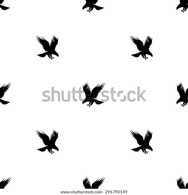 Seamless Pattern Silhouettes Flying Eagle Black Stock Vector