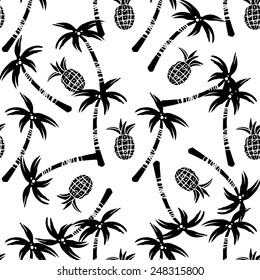 Seamless pattern with silhouettes tropical coconut palm trees, fruits pineapples in black and white. Rain forest. Summer repeating background. Natural print texture. Cloth design. Wallpaper, wrapping