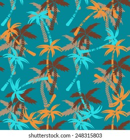 Seamless pattern with silhouettes tropical coconut palm trees. Rain forest. Summer repeating background. Natural print texture. Cloth design. Wallpaper, wrapping