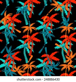 Seamless pattern with silhouettes tropical coconut palm trees. Summer bright repeating background. Natural print texture. Cloth design. Wallpaper, wrapping