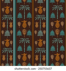 Seamless pattern with silhouettes tropical coconut palm trees, fruits pineapples, leaves. Summer repeating background. Natural print texture. Cloth design. Wallpaper, wrapping
