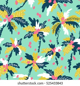 Seamless pattern with silhouettes tropical coconut palm trees. Summer repeating background. Natural print texture for fabric, wrap paper and wallpaper design.