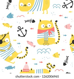 Seamless pattern with silly cats - pirates on white background. Vector illustration for children.