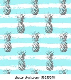 Seamless pattern. Silver pineapple background. Vector illustration. Perfect for invitations, greeting cards, wrapping paper, posters, fabric print.