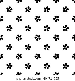 Seamless pattern with simple black flowers on white background/ Vintage background/ Hand drawn vector illustration