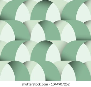 Seamless pattern, simple curved abstract shapes with shadow, pastel green tones