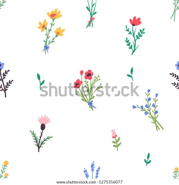 Seamless Pattern Simple Flowers Bouquets Wildflowers