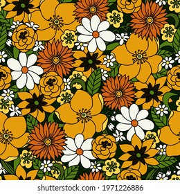 Seamless pattern with simple flowers. Floral print hippie 60s