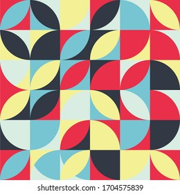 Seamless pattern of simple geometric shapes in bright colors. Modern design template for web, presentation, branding pack, fabric print, wallpaper.