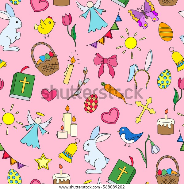 Seamless pattern with simple icons on a theme the holiday of Easter ,colored icons on pink background