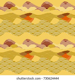 Seamless pattern simple Nature background with Chinese wave circle Brown beige ocher violet red yellow orange colors. Can be used for fabrics, wallpapers, websites. Vector