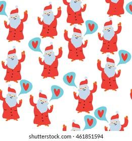 Seamless pattern with singing Santas. Vector christmas pattern