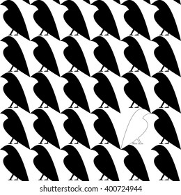 Seamless pattern with single white crow among black crows. Dissimilar concept. Stylized simple contour shape.