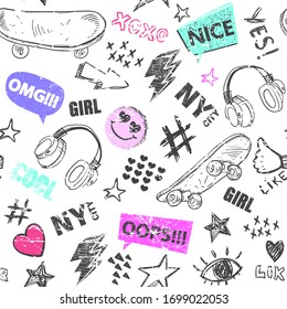 Seamless pattern with skateboard, headphones  and other hand drowing elements. Cool texture background. Wallpaper for teenager girls. Fashion style