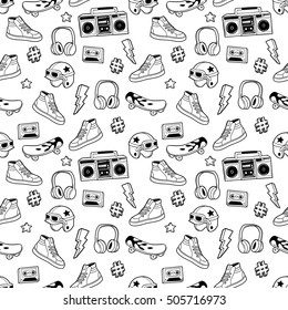 Seamless pattern with skateboard, sneakers, headphones, tape recorder, etc. Vector background with fashion patches, stickers in cartoon 80s-90s comic style. Can be used in coloring book for adults.