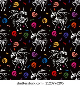 Seamless pattern. Skeleton of a pegasus with horn among the multicolored human skulls and bones. Unicorn with wings. Great for printing on T-shirts, for tattoos and more. Ideal for Halloween.