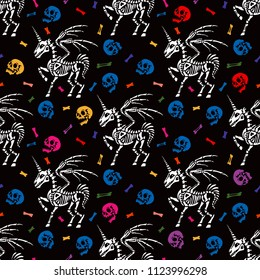 Seamless pattern. Skeleton of a pegasus with horn among human skulls and bones. Unicorn with wings. Great for printing on T-shirts, for tattoos and more. Ideal for Halloween.