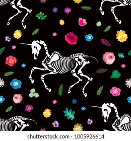 Seamless pattern. Skeleton of a unicorn among flowers. Ideal for decoration of Halloween, the Day of the Dead and more.