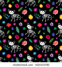 Seamless pattern. Skeletons of cats are walking in the flower garden. Can be used for t-short print, poster or card. Ideal for Halloween, the Day of the Dead and more.