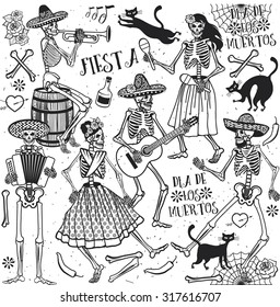 Seamless pattern with skeletons. Day of the Dead (Dia de los Muertos). The skeleton dance.