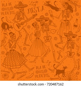 Seamless pattern with skeletons. Day of the Dead (Dia de los Muertos). The skeleton dance