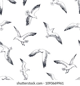 seamless pattern - sketch black and white gulls, cormorants and seagulls hovering over the sea. Vector wallpaper with sea theme.