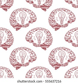 Seamless pattern with the sketch human brain and light bulbs. hand-drawn illustration