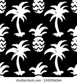 Seamless pattern with sketch palm trees, pineapples. Background in black and white