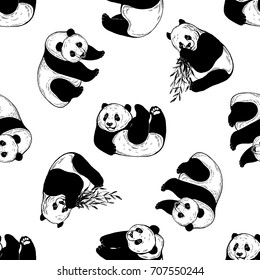 Seamless pattern of sketch style pandas. Vector illustration isolated on white background.