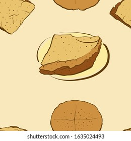 Seamless pattern of sketched Borlengo bread. Useable for wallpaper or any sized decoration. Handdrawn Vector Illustration