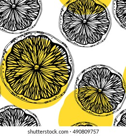 seamless pattern with sketched citrus fruits and lemon slice. Hand drawn line art lemon slice.