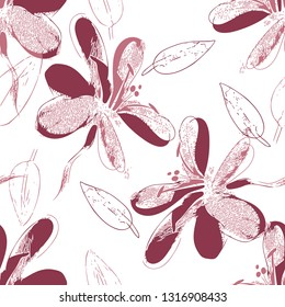 Seamless Pattern of Sketched Flowers. Nature Illustration.