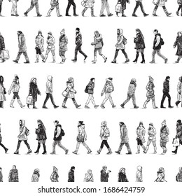 Seamless pattern of sketches casual city pedestrians walking along street