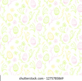 Seamless pattern sketches of Easter eggs and flowers in bright shades.