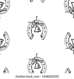 Seamless pattern of sketches of horseshoes with handbells