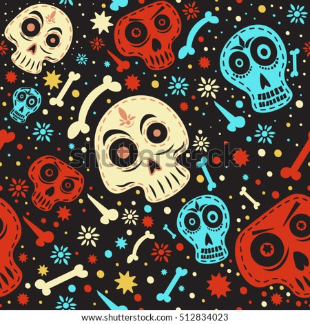 seamless pattern skulls colorful mexican skull stock vector royalty