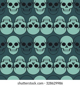 Seamless pattern with skulls; Day of the Dead; Halloween