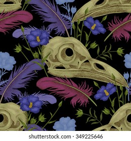 Seamless pattern with skulls, feathers and flowers. Decorative composition on the theme of death on a black background.