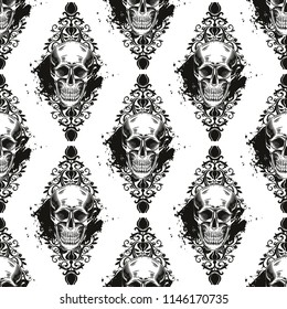 Seamless pattern with skulls, flowers and blots on a white background.