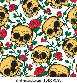 Seamless pattern of skulls and flowers in Mexican style. Vector illustration of three skulls and brunch of roses on background.