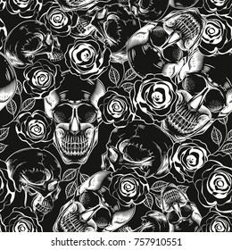 Seamless pattern with skulls and flowers on a black background.